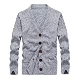 OSYARD Herren Strickjacke Cardigan Feinstrick mit V-Ausschnitt und Knopfleiste, Langarm Pullover Sweatshirt Strickpullover Sweater Top Bluse (XL, Grau)