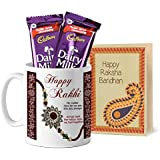 Tied Ribbons Rakhi Gift Sister, Raksha Bandhan Gifts For Sister Printed Coffee Mug With Dairy Milk Chocolates...
