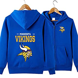 SZRXKJ Männer mit Kapuze Langarm Buchstaben drucken Minnesota Vikings Football Team einfarbig Reißverschluss Hoodies(L,blau)