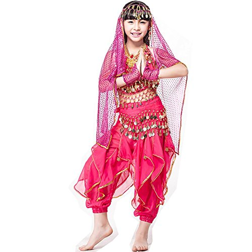 Byjia Indische Kinder Bauchtanz Kleidung Performance Kostüm 6 Stück Set Bühne Hose , Rose Red Six Sets , M