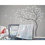 Schöner abnehmbarer Vinyl-Aufkleber, Wandaufkleber, mit Motiv Baum mit Vögeln und Blüten, für Kinderzimmer, groß, Rosa, für Mädchen-Schlafzimmer