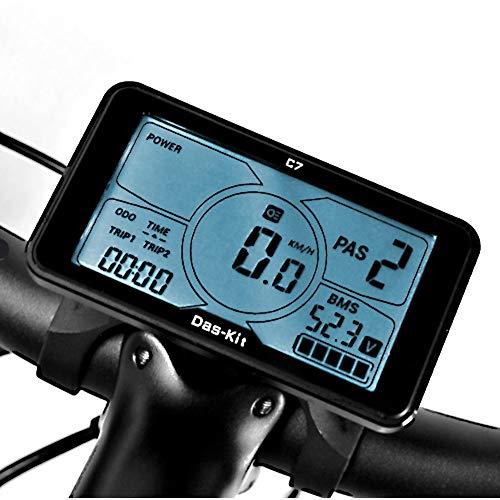 Das-Kit Display C7 Schermo per Biciclette con comandi Inclusi, Compatibile con NCM Milano/Venice/Moscow da 48V