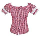 Trachtenbluse Annemarie Rot Gr. M - schöne karierte Oktoberfest Bluse im Carmen Stil zur Lederhose für Damen