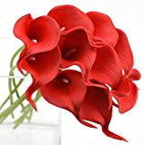 FiveSeasonStuff 10 Stück Qualität Gefühlsecht (Real Touch) Calla-Lilien-künstliche Blumen-Bouquet Dekoration, Ideal für die Hochzeit, Braut, Party, Zuhause, Büro Dekor DIY (Rot)