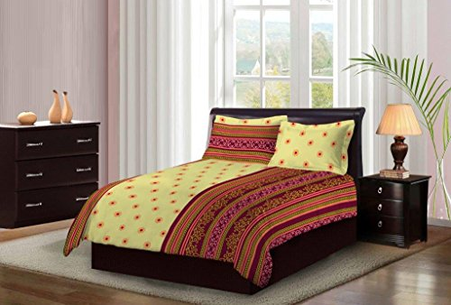 Bombay Dyeing Light Yellow With MultiColor Floral Printed Design 104 TC Cotton Double Bedsheet with 2 Pillow Covers  available at amazon for Rs.699