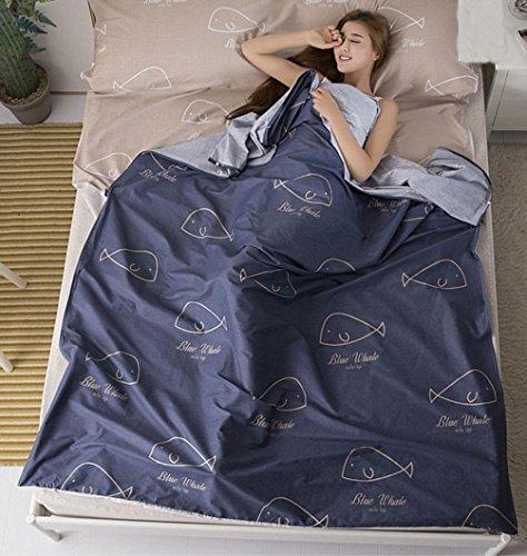 Voyage sac de couchage sale Portable intérieur coton double anti-draps de literie Hôtel voyage essentials , 180cm*230cm , blue 1