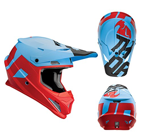 Thor Crosshelm Sector Level Motocross Enduro MX Helm matt blau rot Gr. S (Thor Racing)