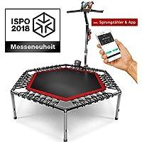 Messe-Neuheit 2018! Smart Fitness Trampolin mit APP + Sprungzähler & Pulsgurt, 133 cm, klappbar, 8fach höhenverstellbarer Haltegriff mit Handy- & Flaschenhalterung, HTX100 Indoor Jumping Workout