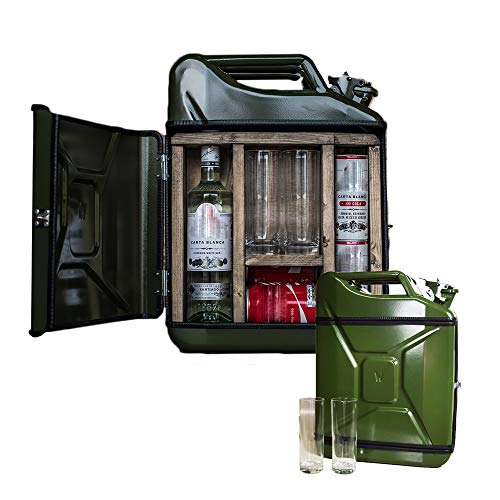 mikamax - JerryCan Mixed Drinks - Large - Kanister - Mobile bar - Barschrank mit trinkgläsern - Grün - 20 Liter