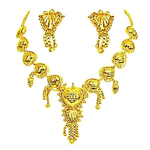 Surat Diamonds Gold Plated Necklace & Earring Set for Women (GP5)  available at amazon for Rs.149