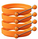 YumYum Silikonringe für Spiegeleier und PfannkuchenAntihaft-Formen aus Silikon für Spiegeleier und Pfannkuchen, Ringe mit Griff, 4Stück. Orange