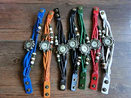 Demarkt Retro Vintage Klee Design Damen Armbanduhr Armreif Uhr Anhänger Spangenuhr Quarzuhren (Grün) - 4