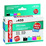 edding Tintenpatrone EDD-433 ersetzt Brother LC980BK/C/M/Y Multipack 4 - Schwarz, Cyan, Magenta, Gelb - 1x 14ml + 3x 9ml