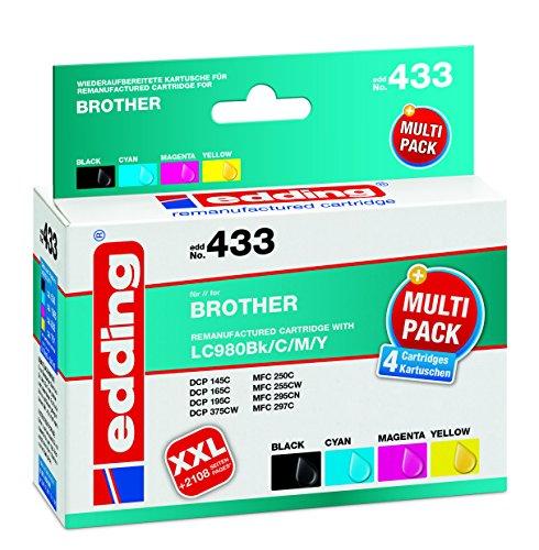 edding Tintenpatrone EDD-433 ersetzt Brother LC980BK/C/M/Y Multipack 4 - Schwarz, Cyan, Magenta, Gelb - 1x 14ml + 3x 9ml (Drucken Reman)