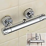 """Redondo moderno cuarto de baño mezcladora termostática ducha grifo montado en la pared cuerpo de latón 3/4""""salida superior"""