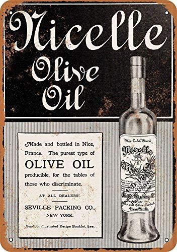 HiSign Nicelle Olive Oil Vintage Blechschild Antike Metall gemälde Retro Wandschild Teller Poster Kaffee-Dekoration für Zuhause Club Bar Café Hotel Mesa Olive