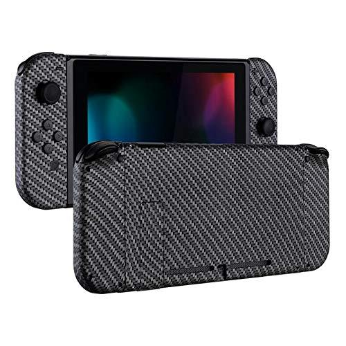 eXtremeRate Hülle Case Schutzhülle Cover Schale Tasche Gehäuse Shell Zubehör Kit für Nintendo Switch Console, NS Joycon Controller mit Buttons, DIY-Ersatzschale für Nintendo Switch(Carbon Fiber) Carbon-gehäuse