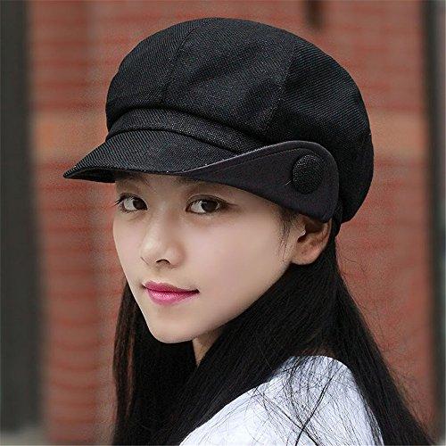 Damen Leinen atmungsaktiv achteckigen Cap Cap Becken Jugend Gesicht Maler hat Flanging für Kopfumfang: 55 cm-58 cm, können nicht eingestellt, schwarz sein.