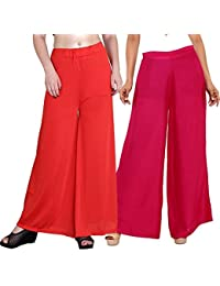Mango People Products Indian Ethnic Rayon Designer Plain Casual Wear Palazzo Pant For Women's ( Orange And Pink...
