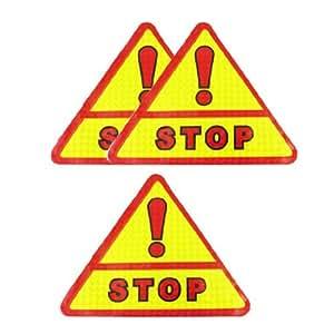 Voiture fenêtre réfléchissant Triangle Avertissement Stop Sign autocollant rouge Jaune 3 Pcs