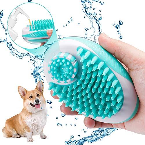 Domipet Haustier Massage Badebürste Hundebürste Katzenbürste, Fellpflege Bürste Hund mit Massage Effekt weiche Silikon, Massagebürste mit Shampoo Dispenser Dusche Kamm für Hunde und Katzen -