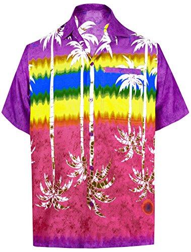La Leela Männer Hawaiihemd Kurzarm Button Down Kragen Fronttasche Karibik Strandhemd Manner Urlaub Casual Herren Aloha Violett_268 1XL Likre 1905