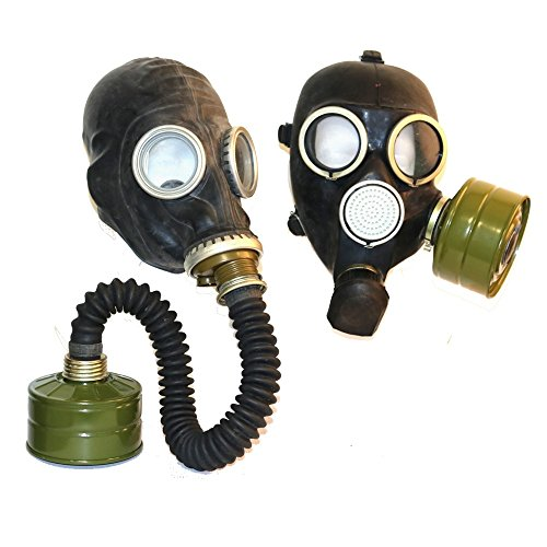 OldShop Set of two WW2 Gas Masks GP-5 in black with filters & hoses and GP-7 in black with filter Soviet Russian NEW Vintage FUNY GIFT (Black Russian Hose)