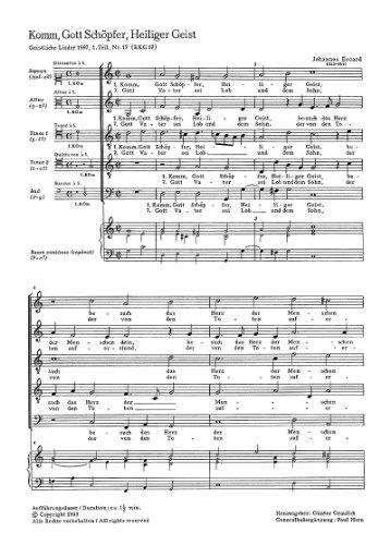 Eccard: Komm, Gott Schöpfer, Heiliger Geist. Partitur (20 St.)