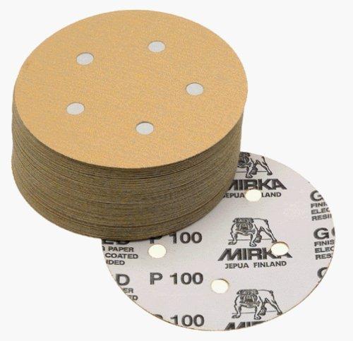 150 Grit-hook (Mirka 23-614-150 5 5-Hole 150 Grit Dustless Hook & Loop Sanding Discs - by Mirka)