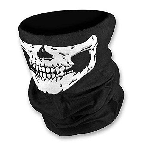 KKmoon Fascia per Capelli Unseamed Multifunzionale Casco del Bandana del Cranio, Maschera Viso Collo, Props di Halloween della Sciarpa Termica, Bianco