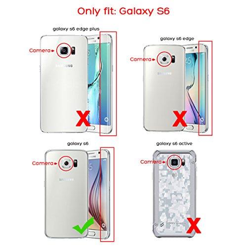 S6 Hülle, ULAK Galaxy S6 Hülle 3 Layer Hybrid Combo Innere Weiche Silikon Hart Plastik Anti-stoß Schutzhülle Tasche Case Cover für Ssmsuang Galaxy S6 (Rosé Gold + Grau) 3in1-Rosé Gold