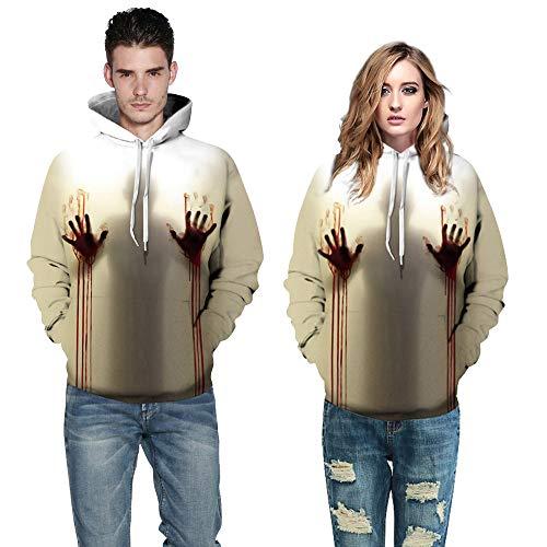 (Dasongff Halloween Damen Herren Blut 3D Druck Langarm Hoodie Sweatshirt Pullover Top Kapuzenpullover Halloween Kostüm Frauen Oberteil)