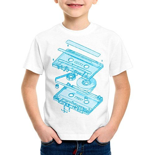 style3 DJ Tape Camiseta para Niños T-Shirt Turntable 3D MC, Color:Blanco;Talla:104
