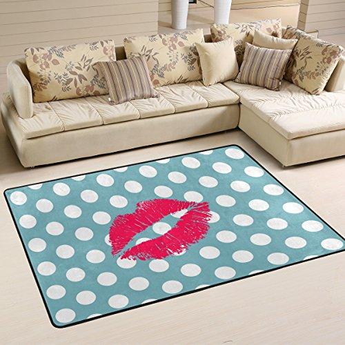 woor rojo labios y lunares, salón comedor alfombra 36x 24pulgadas cama habitación alfombra oficina alfombra moderno piso alfombra alfombras decoración del hogar, multicolor, 6 x 4 Feet
