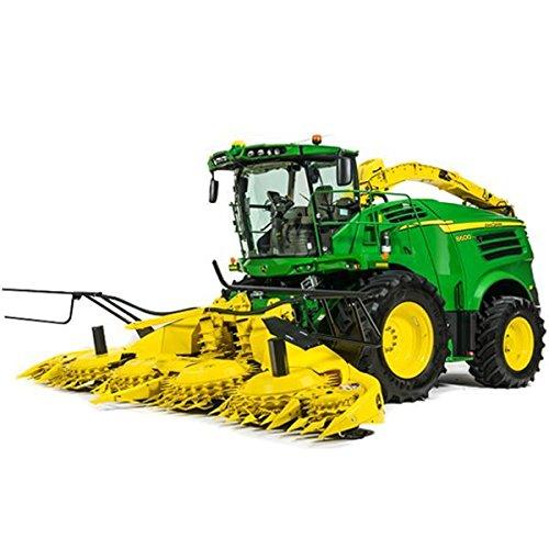 TOMY Britains - 8600 Feldhäcksler - Traktor aus Metall und Kunststoff mit 2 Vorsatzanhängern für Maisgebiss und Gras-Pickup - für Kinder ab 3 Jahre