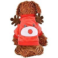 Amphia - Haustier-Milchhund Flanellkleidung,Weihnachtshundewelpen-Kleidung Kleiner Welpen-weicher Haustier-Mantel(S,Rot)