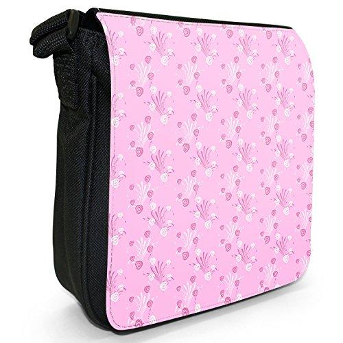 Pinke Blumenmuster Flower Power Kleine Schultertasche aus schwarzem Canvas Rosensträuße Weiß & Pink