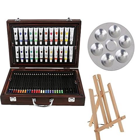 Gazechimp 120pcs Peinture Acrylique Crayons Assortis 24 Couleur Mallette d