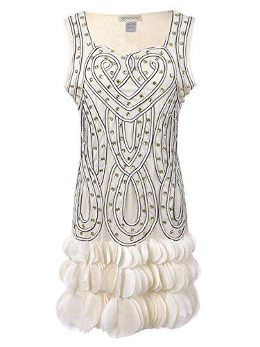 mourös Perlen Herz Deko Blütenblatt Flapper Netz Rufflle Volant ärmelloses inspiriert Minikleid (Beste Griechische Göttin Kostüm)
