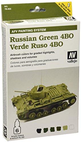 Vallejo 078403 Farbset, US Verde Ruso ABO, 6x8 ml
