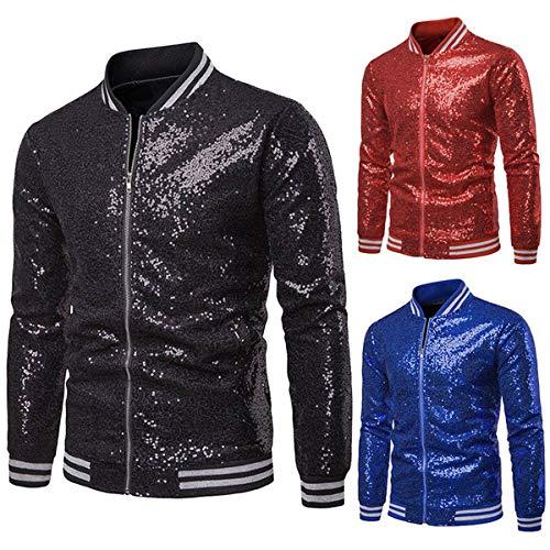 Eghunooye Slim Fit Metallic-Jacke Sakkos für Herren, Langarm Sparkle Pailletten Glänzender Reißverschluss Nachtclub Varsity Bomber Party Jacket Sakkos (Schwarz, Small)
