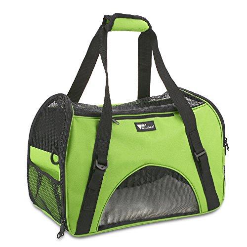 Amzdeal Hundetragetasche Katzentragetasche, Tragetasche Flugtasche Transporttasche Reisetasche für Hund oder Katze, Apfelgrün