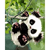 LRZZDP Pintar Por Números Para Adultos Y Niños Diy Pintura Al Óleo Regalo Arte Decoración Del Hogart - Lindo Bebé Juguetón Panda Lona De Alta Calidad 16X20 Pulgadas Sin Marco