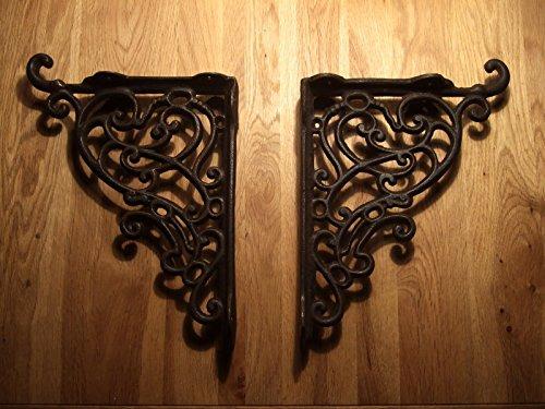 Antikas - escuadras estilo antiguo estantería - escuadras rústicas de hierro fundido - soportes de hierro para estantes