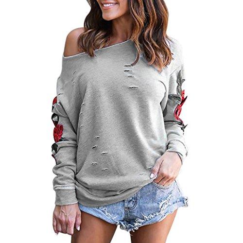 Damen Langarmshirt,,Bestop Damen Stickerei Off Shoulder Langarmshirt Oberteile Tops Bluse (L, Grau)
