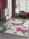 Kinderteppich Spielteppich Schmetterling Design Creme Pink Grau Grün Blau Größe 140x200 cm