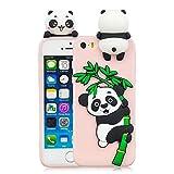 Leton Coque iPhone 5S Silicone Coque iPhone Se avec Motif 3D Panda Rose Housse pour...
