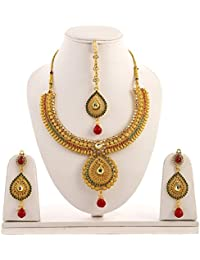 Aabhu Gold Plated Necklace Jewellery Set With Earrings And Maang Tika For Girls And Women