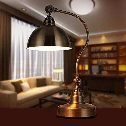 BBSLT Camera da letto retrò comodino, ferro battuto bronzo Lampada led, led la lampada da studio altezza: 54cm* larghezza: 36cm