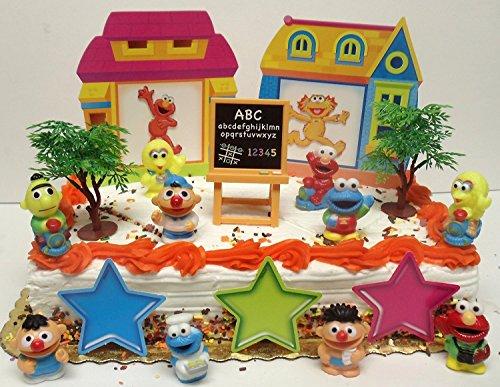 sesame-street-17-piece-birthday-cake-topper-set-featuring-elmo-bert-ernie-cookie-monster-big-bird-an